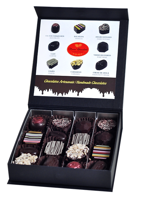 · Caixa Preta Prestige 16 Bombons - Chocolate Negro 70%