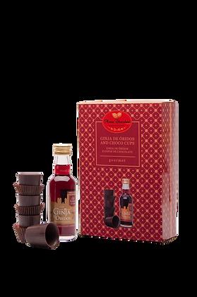 Coffret de Licor de Ginja de Óbidos com copos de chocolate