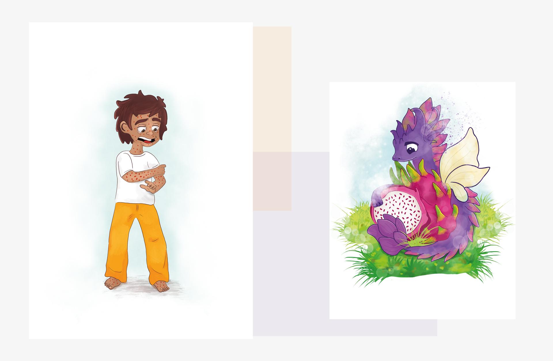 Dragon fruit and a boy