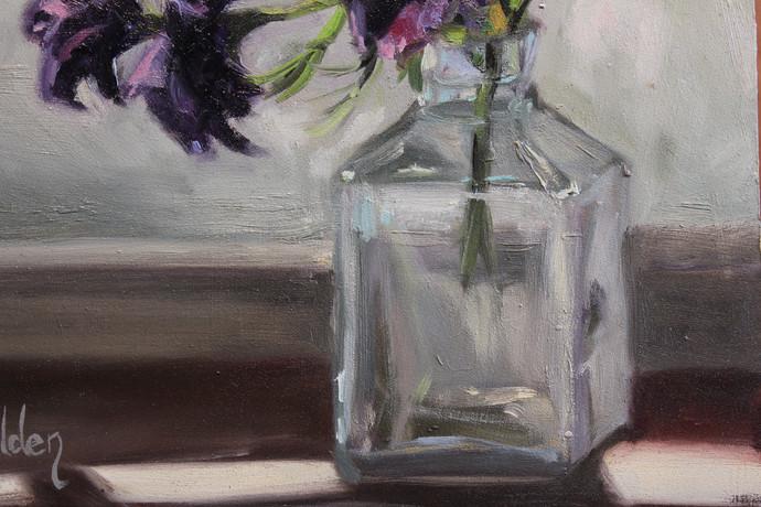 Purple Flowers in Glass - Detail 1