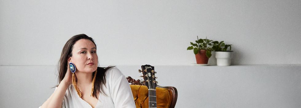 LeelaGilday Sitting with Guitar