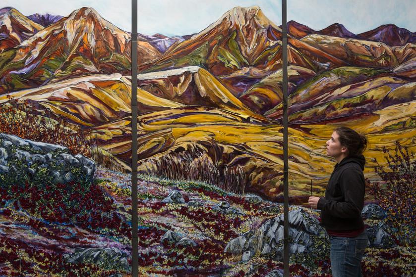 Hills of Dechen la - Artist with Painting