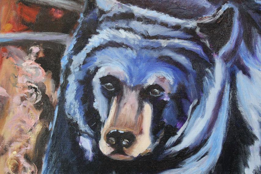 Black Bear in Blue - Detail