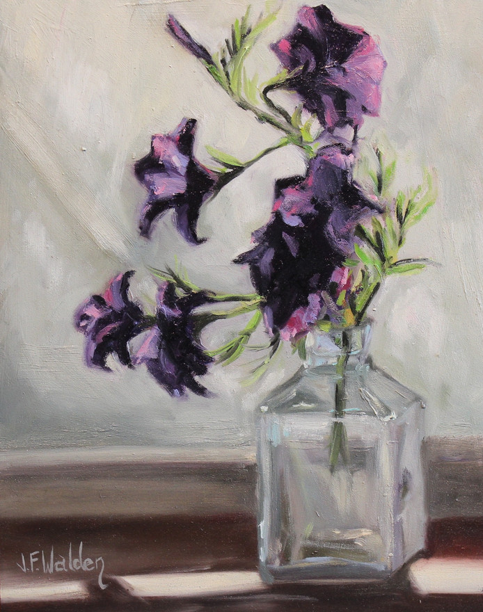Purple Flowers in Glass