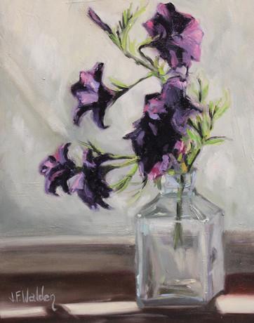 Purple Flowers in Glass