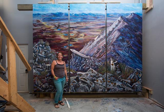 Atop Garnet Ridge - Artist with Painting