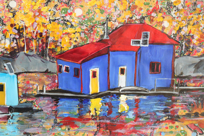 Houseboat Reflections - Detail
