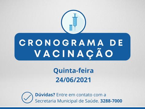Cronograma de Vacinação contra Covid-19 - Quinta-feira em Sarandi