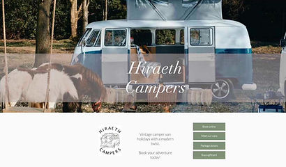 Hiraeth Campers website by Jenny Mawhood Web Design