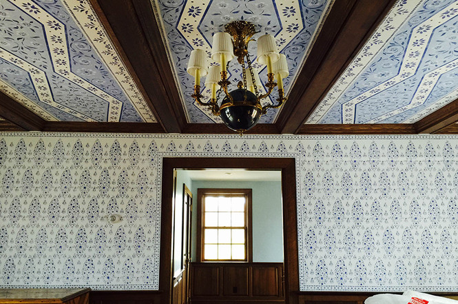 Stenciled ceiling and walls