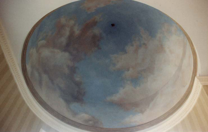 Clouds in domed ceiling