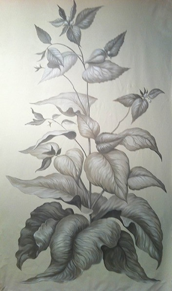 Dominican Republic grisaille botanical on canvas 9ft by 5ft