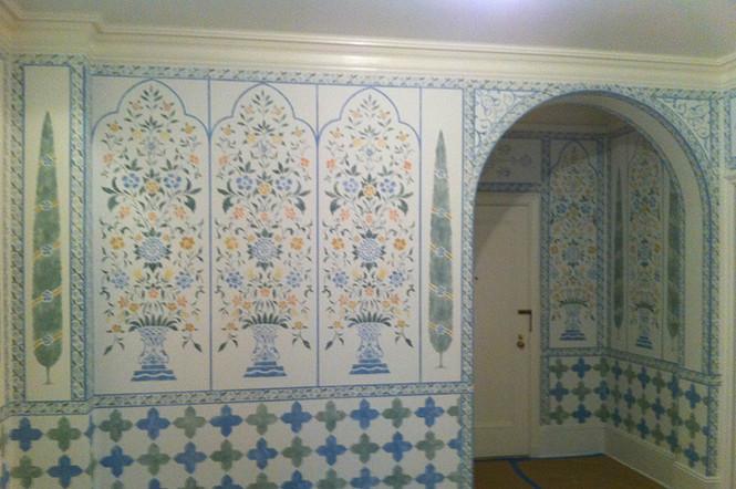 Stenciled Foyer walls