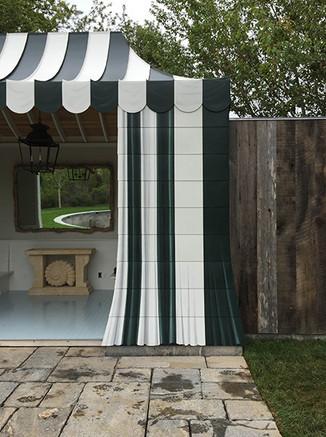 Painted metal tent pool house detail