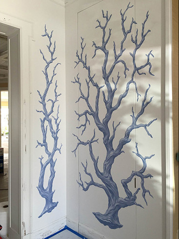 Palm beach foyer painted blue coral 9ft-high