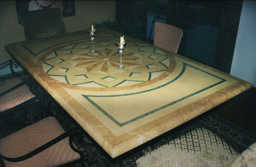 Painted plywood table top in faux marble
