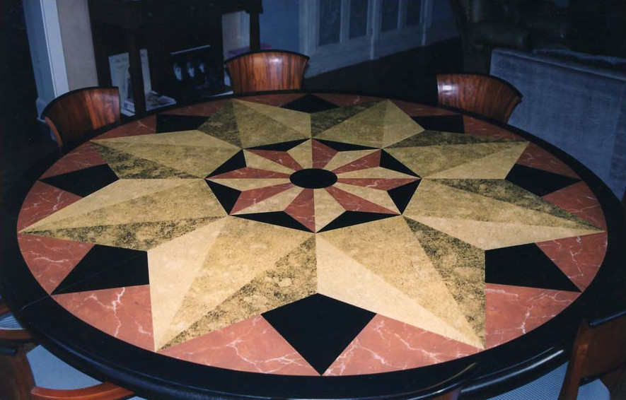Painted plywood table top in faux marble and granite