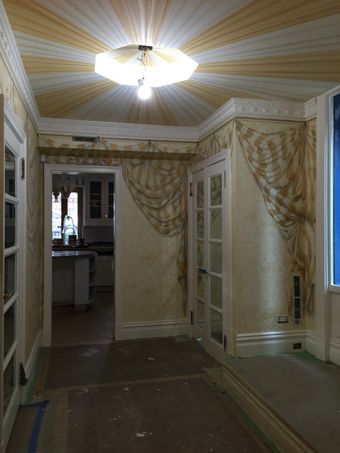 Trompe L'oeil drapery and tented ceiling