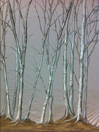 Detail of scenic backdrop on grey linen 9ft high by 20ft