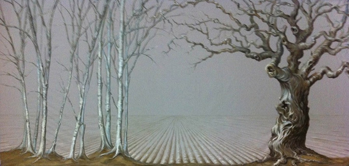 Scenic Backdrop on Grey Linen: 9ft x 20ft