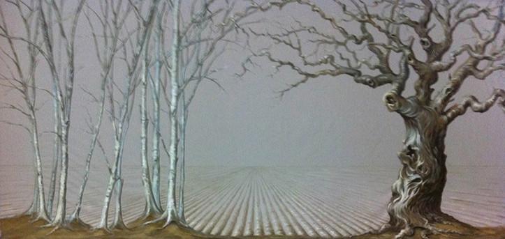 Scenic Backdrop on Grey Linen: 9ft x 20ft
