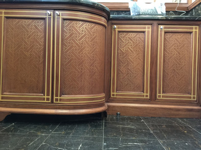 Stenciling on wood cabinetry