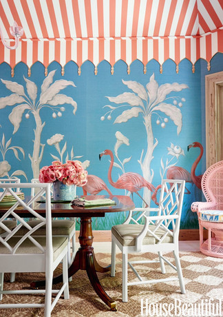 House Beautiful Painted tent ceiling with tassels. Palms and flamingos painted on grasscloth.  Photograph by Paul Costello