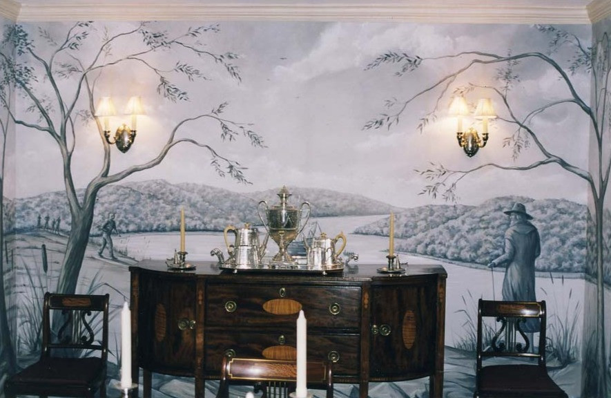 Dining room mural. Founding of the Boston Colony