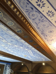 Stenciled beams and ceiling