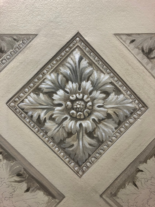 Grisaille coffered ceiling