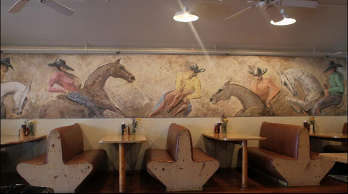 Mural created with pigmented plaster for the Turtle Crossing restaurant in East Hampton