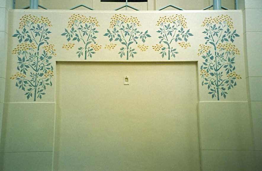 Detail of stenciling over doors
