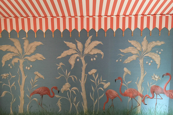 Palm Beach dining room, painted on grasscloth