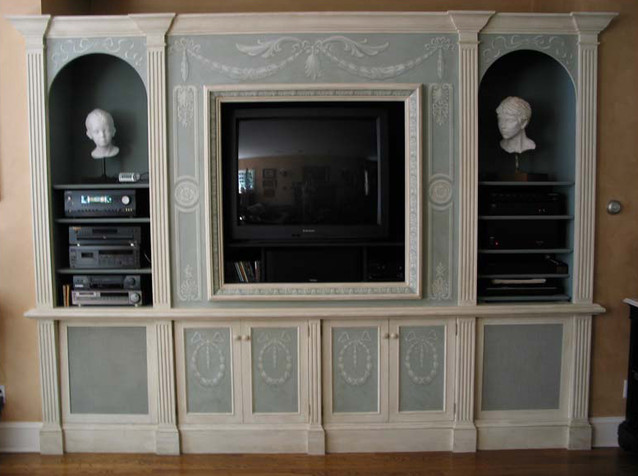 Grisaille on entertainment cabinet