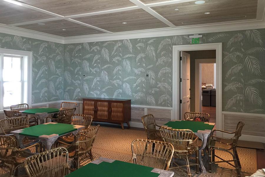 Jupiter Island Club hand painted grasscloth