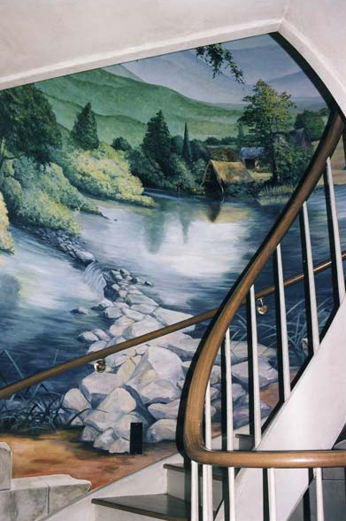 Three story circular staircase mural