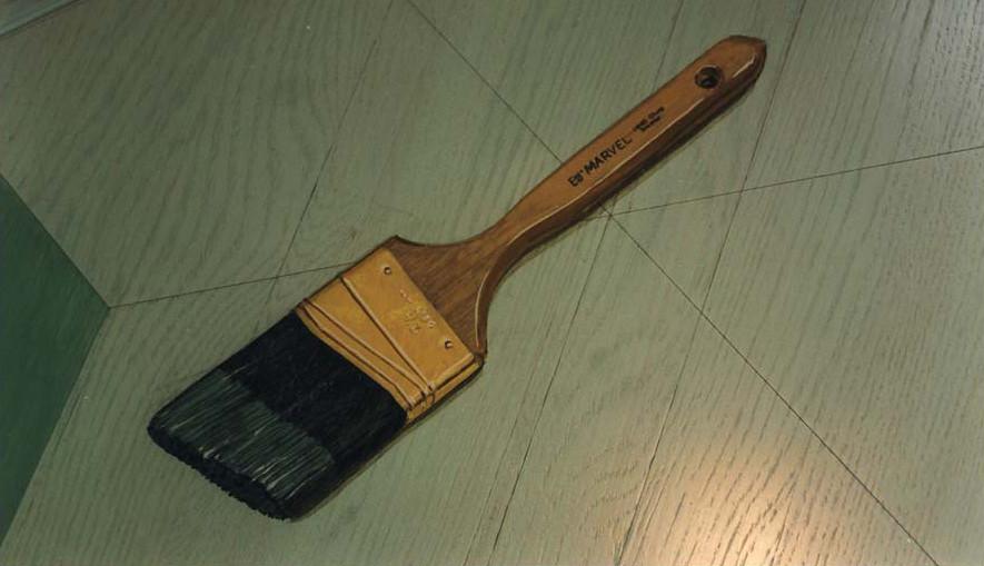 Brush painted on floor