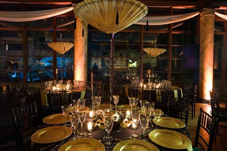 I created the centerpieces, columns and fabric draping