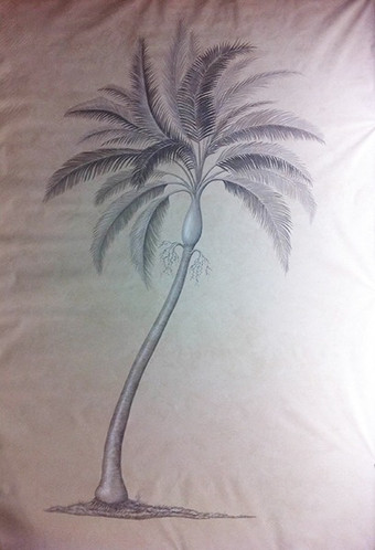 Bahamas grisaille botanical palm on canvas 11ft by 5ft