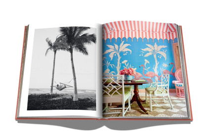 Palm Beach - Assouline Painted tent ceiling with tassels. Palms and flamingos painted on grasscloth.  Photograph by Paul Costello