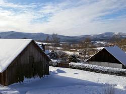 Výhled na hory v zimě