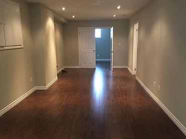 Newly installed basement flooring in Oakville, ON