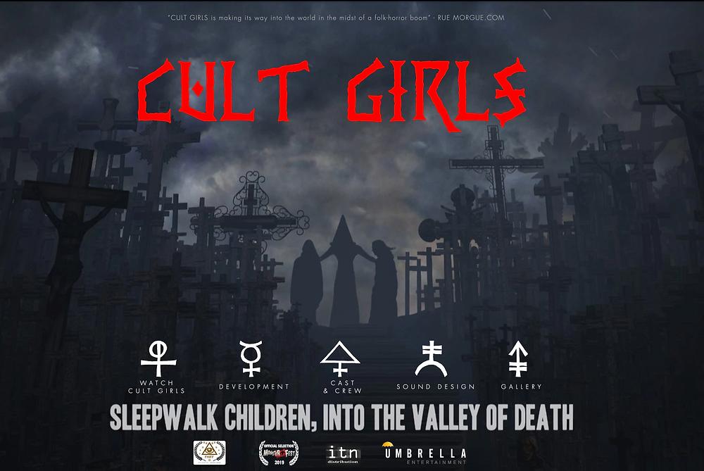 Cult Girls horror movie - website created by MDK Marketing.