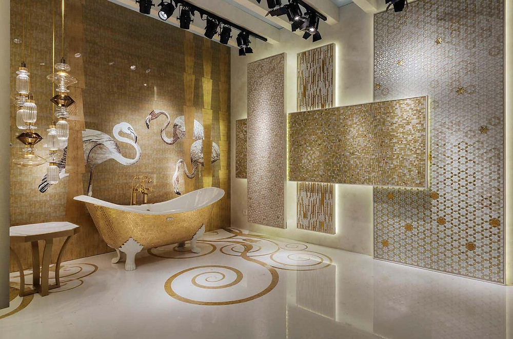 A luxury bathroom accented with gold furnishing