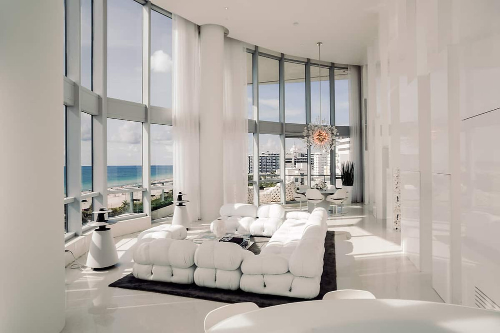 white plush sectional sofa