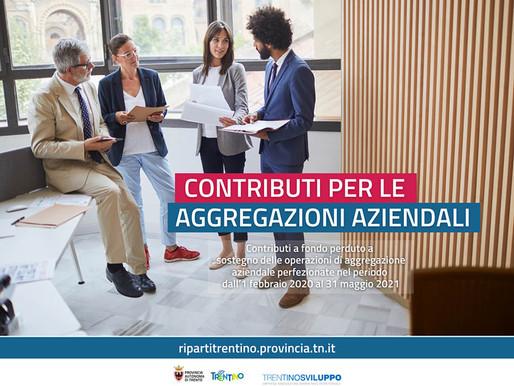 Riparti Trentino, Bonus aggregazioni aziendali: dal 16 novembre il via alle domande