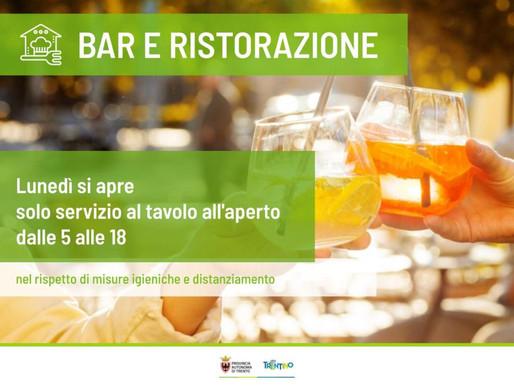 Bar e ristoranti: il Trentino anticipa la ripartenza