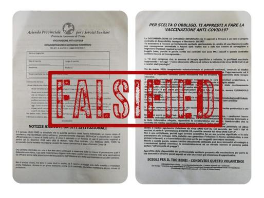 Vaccini, falso volantino Apss recapitato ad alcuni cittadini di Pergine e Rovereto