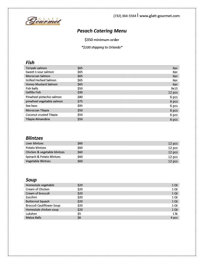 Glatt Gourmet Pesach Catering Menu1024_1