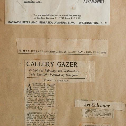 Watkins Gallery at American University, 1953